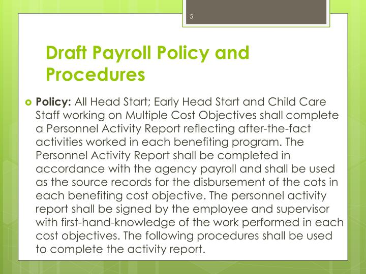 Draft Payroll Policy and
