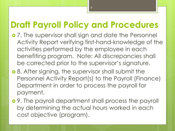 Draft Payroll Policy and Procedures