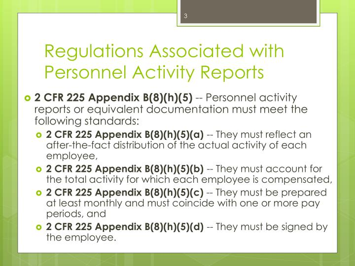 Regulations associated with personnel activity reports1
