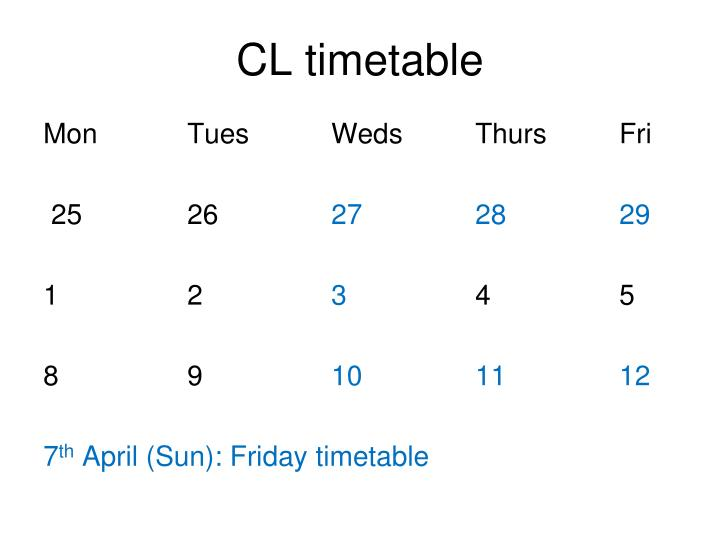 cl timetable n.