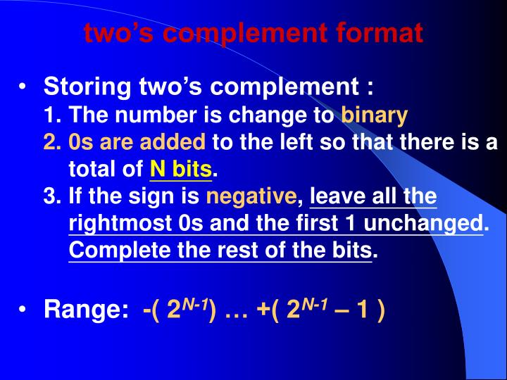 two's complement format