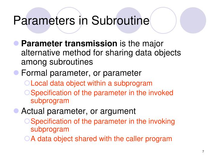 Parameters in Subroutine