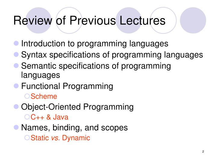 Review of previous lectures