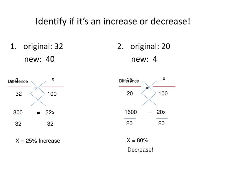 Identify if it's an increase or decrease!