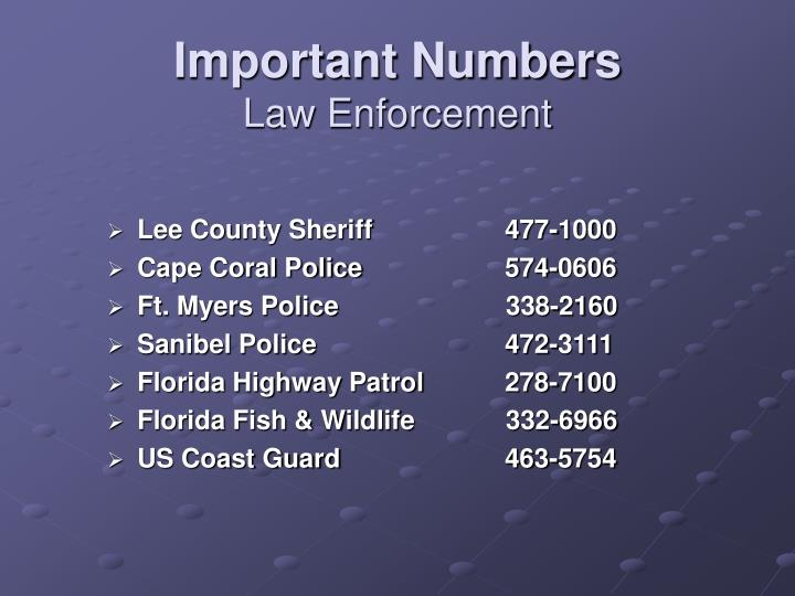 Important Numbers