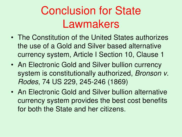Conclusion for State Lawmakers