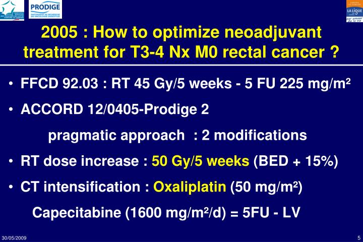 2005 : How to optimize neoadjuvant treatment for T3-4 Nx M0 rectal cancer ?