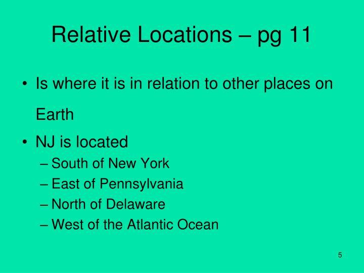 Relative Locations – pg 11