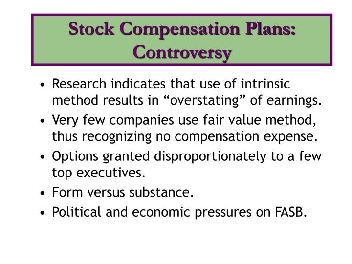 Intrinsic value vs fair value stock options