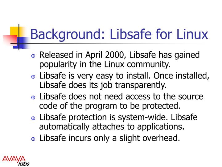 Background libsafe for linux