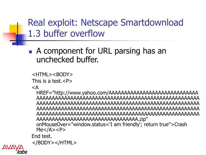 Real exploit: Netscape Smartdownload 1.3 buffer overflow