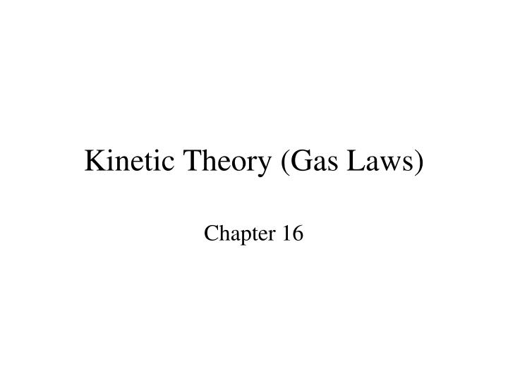 kinetic theory gas laws n.
