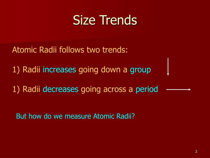 Size trends