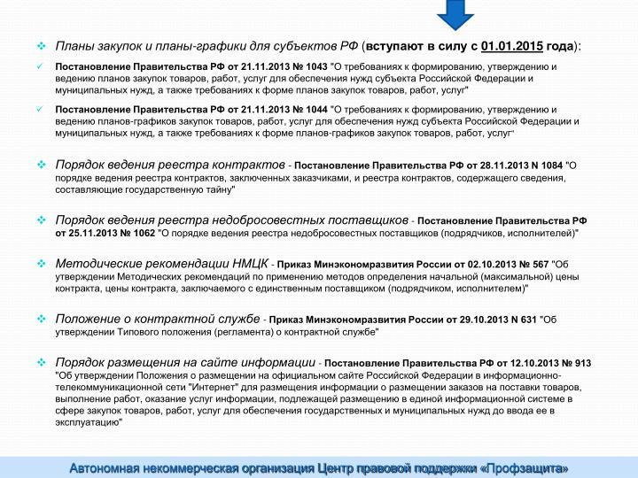 Планы закупок и планы-графики для субъектов РФ