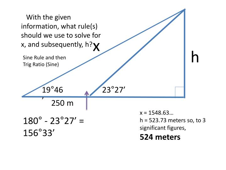 With the given information, what rule(s) should we use to solve for x, and subsequently, h?