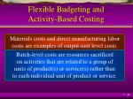 flexible budgeting and activity based costing