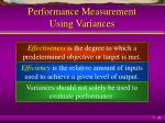 performance measurement using variances