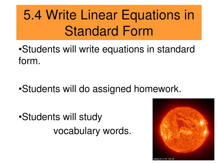Ppt 54 Write Linear Equations In Standard Form Powerpoint