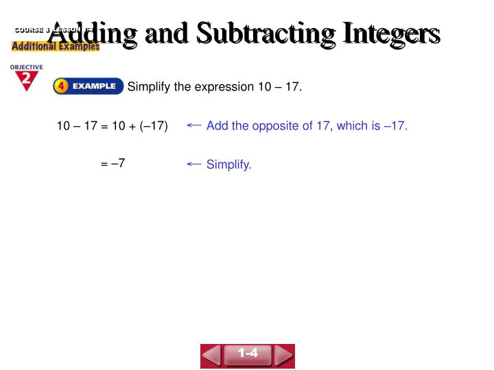 adding and subtracting integers n.