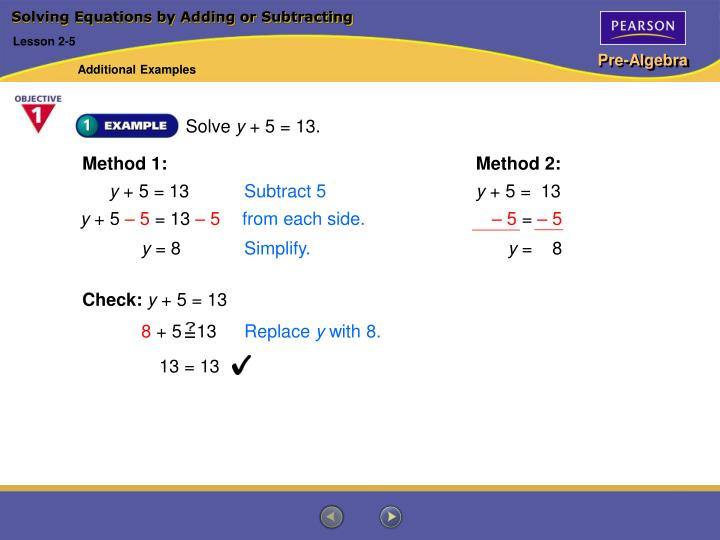 solving equations by adding or subtracting n.