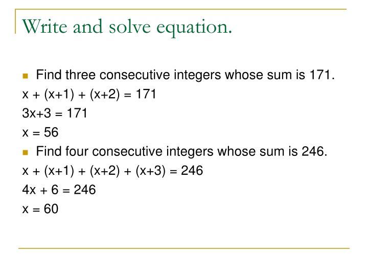 Write and solve equation