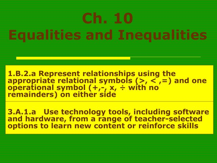 ch 10 equalities and inequalities n.