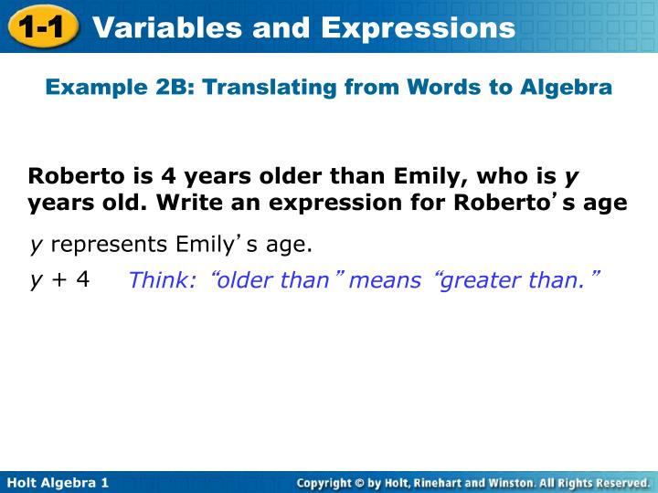 Example 2B: Translating from Words to Algebra
