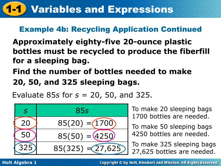 Example 4b: Recycling Application Continued