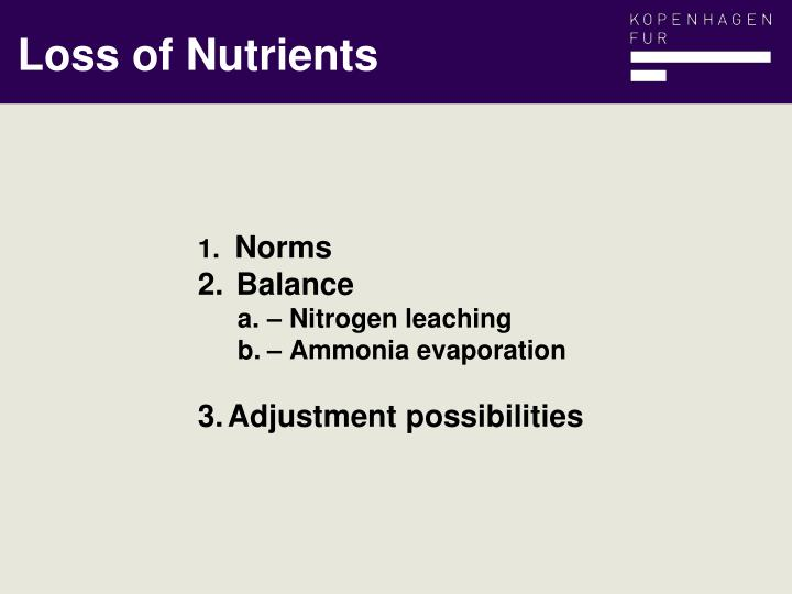 Loss of Nutrients