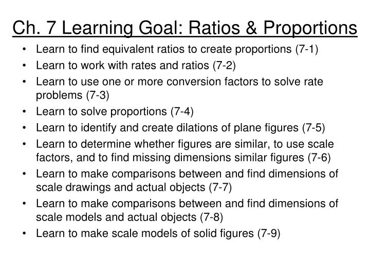 ch 7 learning goal ratios proportions n.