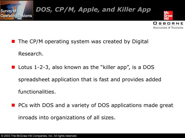 DOS, CP/M, Apple, and Killer App