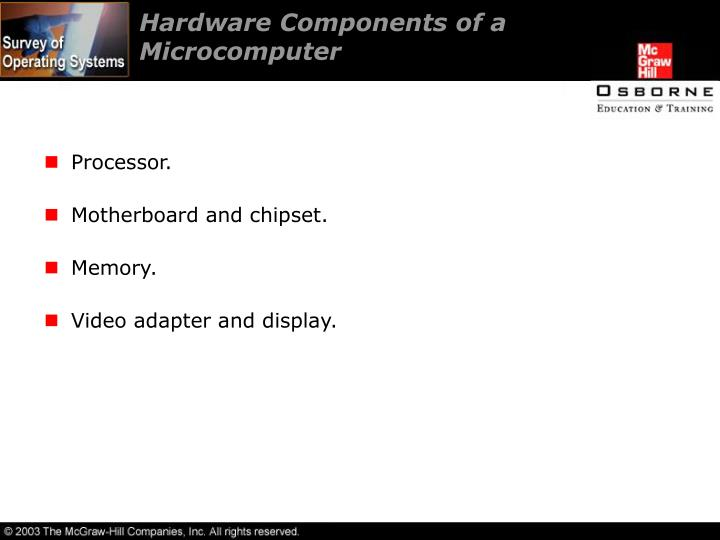 Hardware Components of a Microcomputer