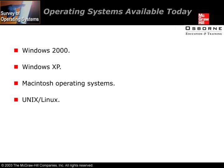 Operating Systems Available Today