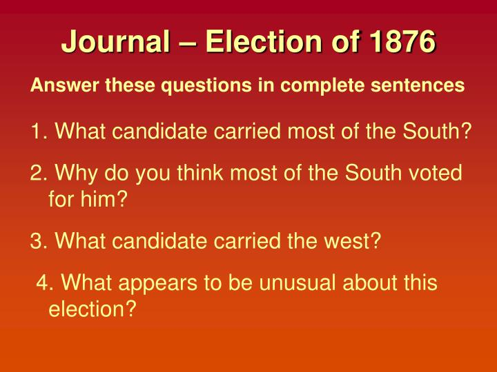 Journal – Election of 1876