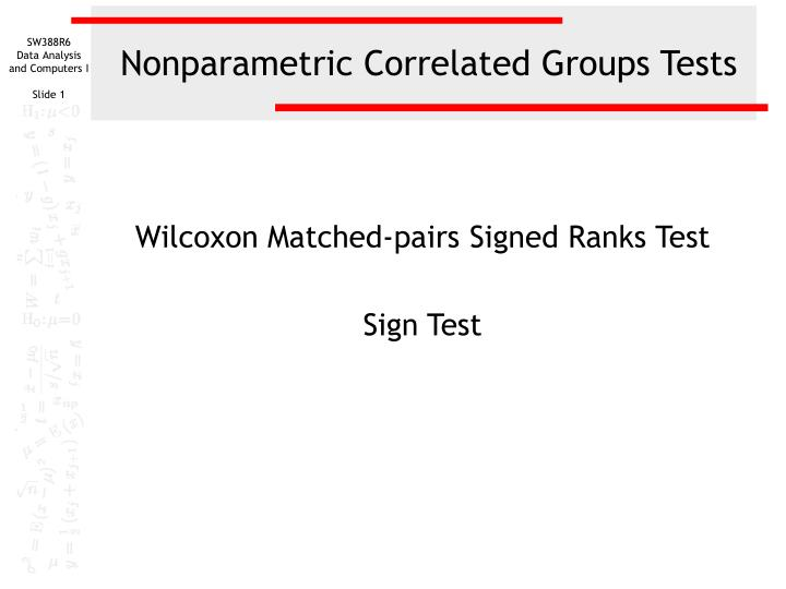 nonparametric correlated groups tests n.