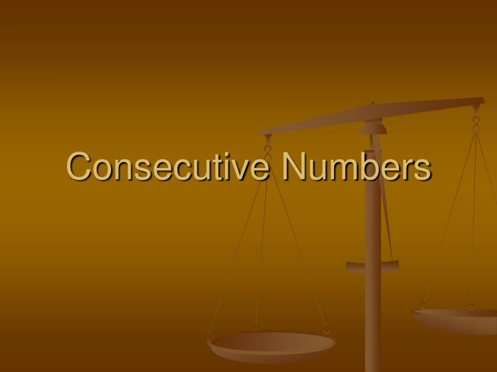consecutive numbers n.