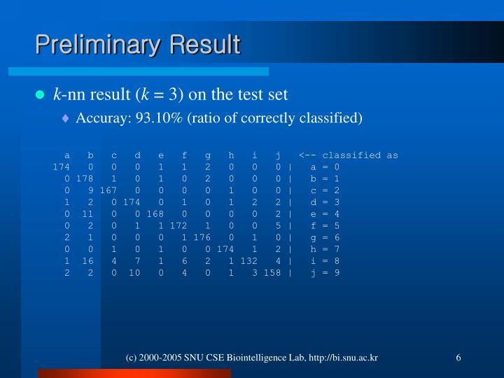Preliminary Result