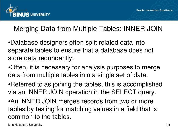 Merging Data from Multiple Tables: INNER JOIN