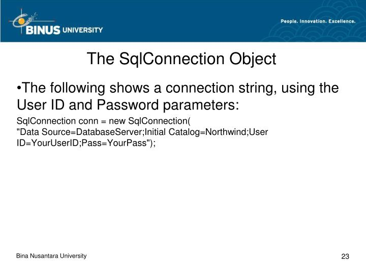 The SqlConnection Object