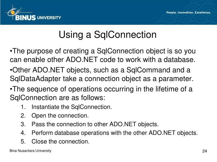 Using a SqlConnection