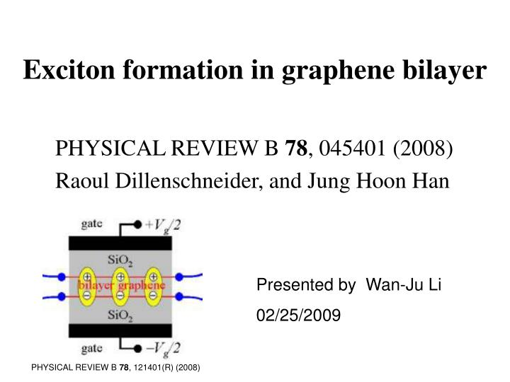 exciton formation in graphene bilayer n.