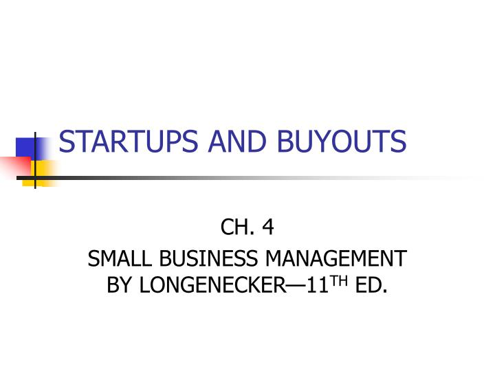 startups and buyouts n.