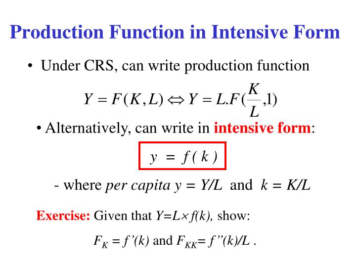 Production Function in Intensive Form