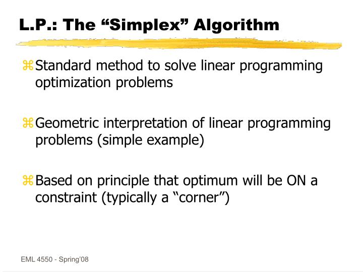 """L.P.: The """"Simplex"""" Algorithm"""