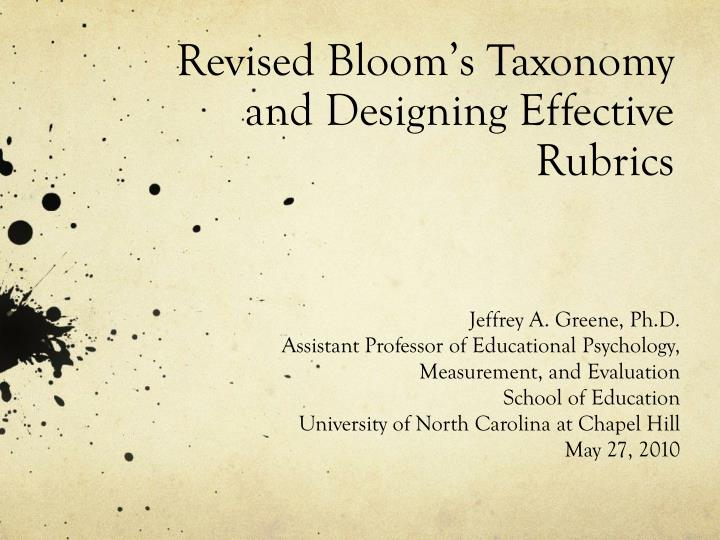revised bloom s taxonomy and designing effective rubrics n.
