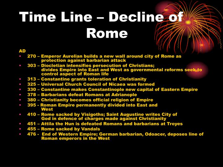 Time line decline of rome