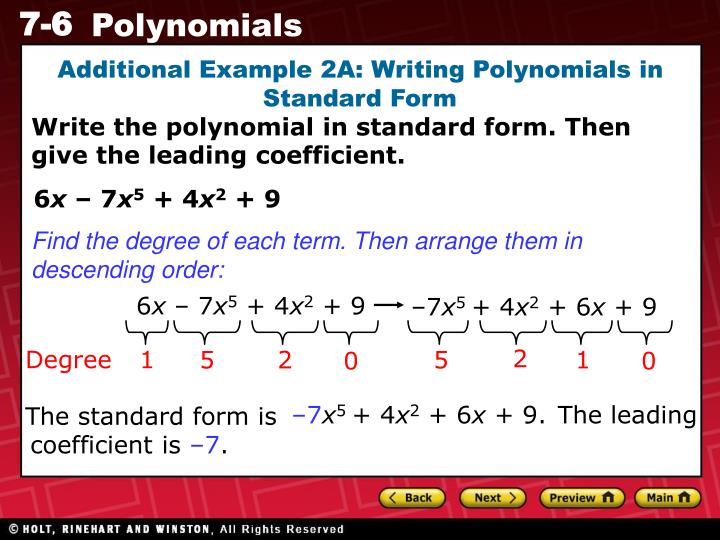 Ppt The Degree Of A Monomial Is The Sum Of The Exponents Of The