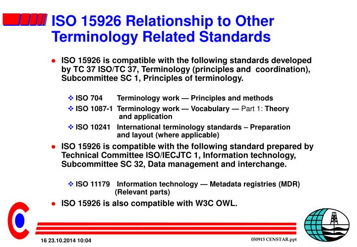 ISO 15926 Relationship to Other Terminology Related Standards