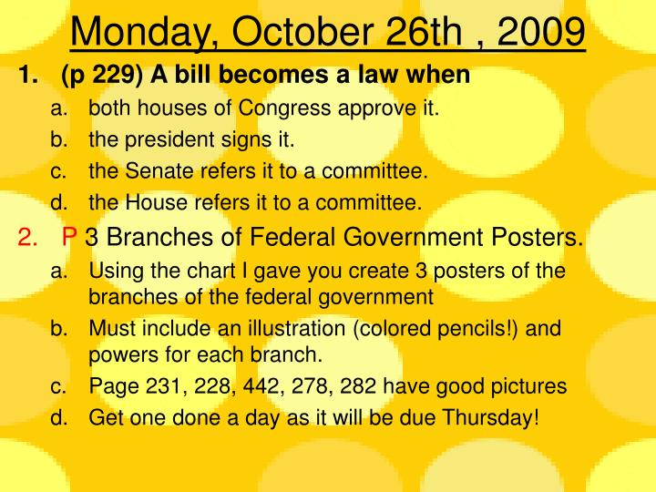 monday october 26th 2009 n.
