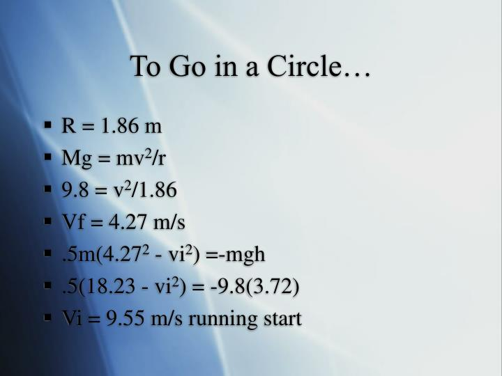 To Go in a Circle…